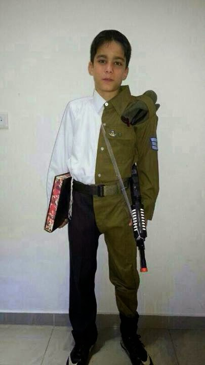 Purim costume half Haredi half soldier